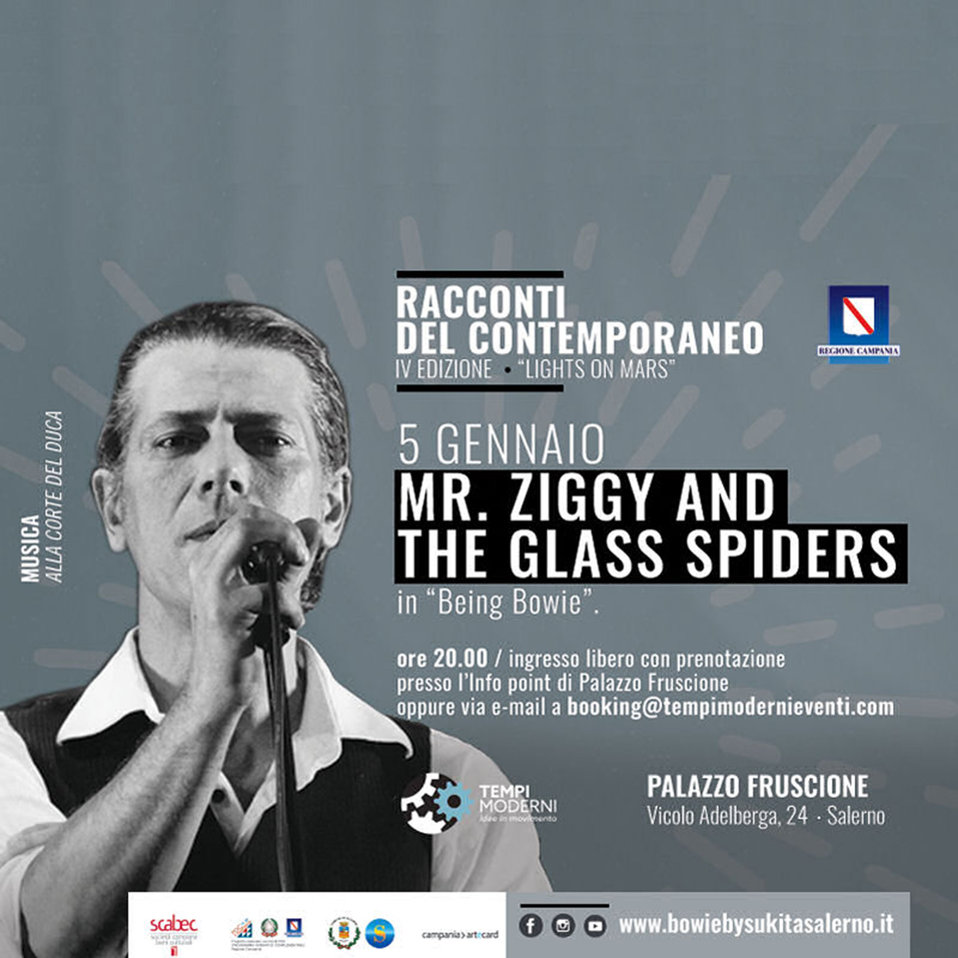 Cover 5 gennaio 2020 concerto Mr Ziggy and the Glass Spiders