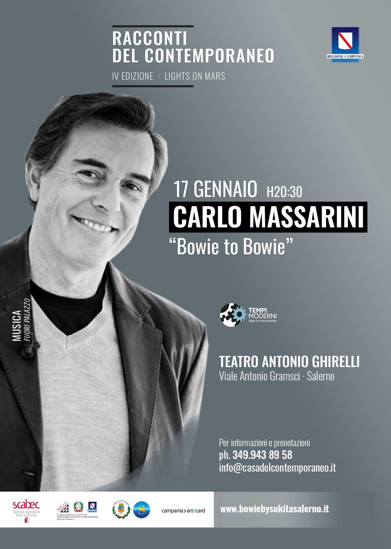 Locandina 17 gennaio 2020 Carlo Massarini per Bowie to Bowie