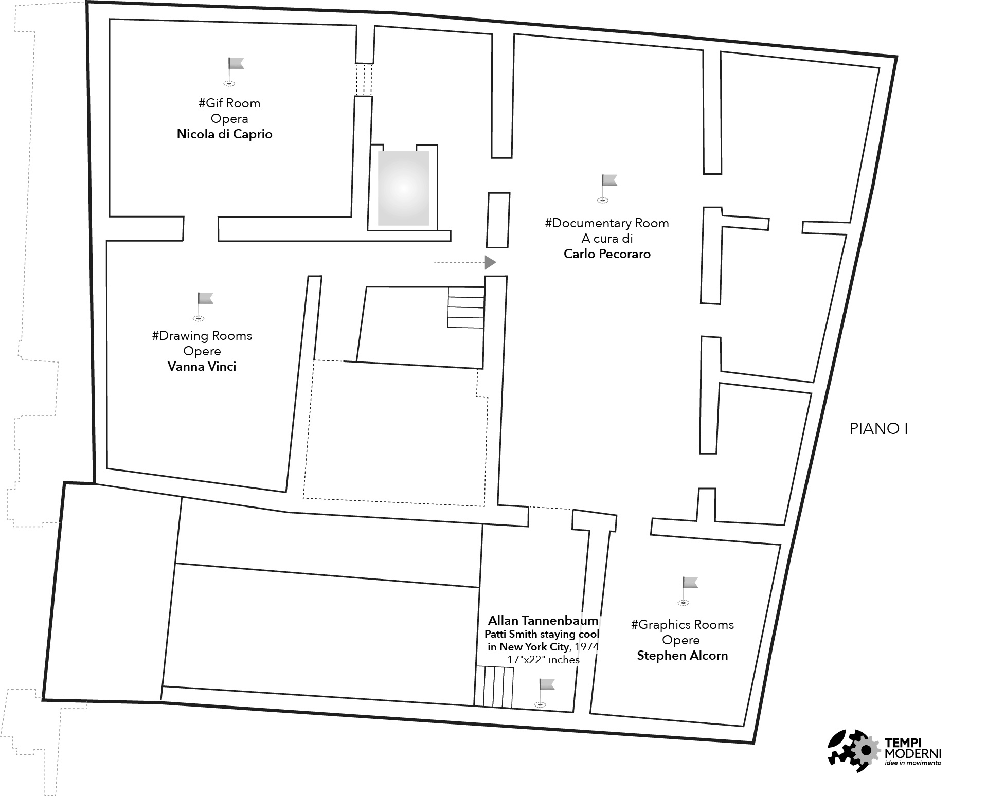 Mappa del piano primo di Palazzo Fruscione a Salerno