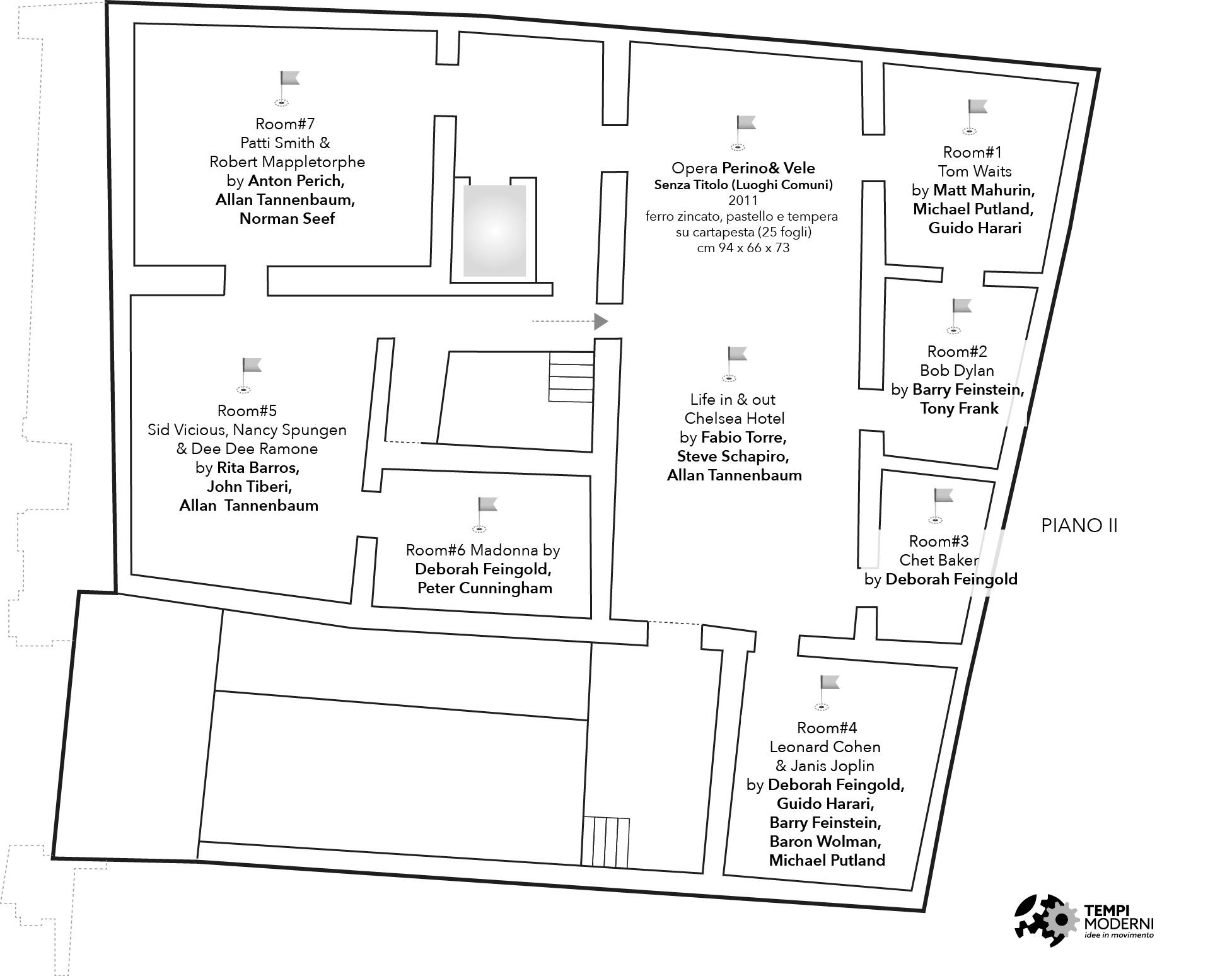 Mappa del piano secondo di Palazzo Fruscione a Salerno