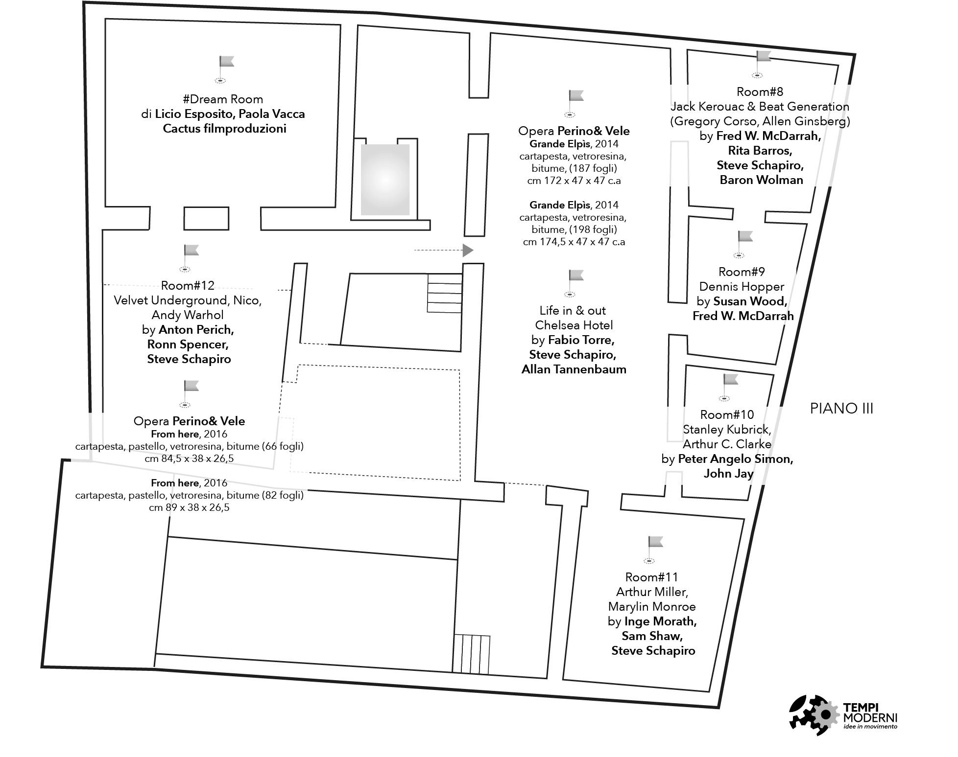 Mappa del piano terzo di Palazzo Fruscione a Salerno